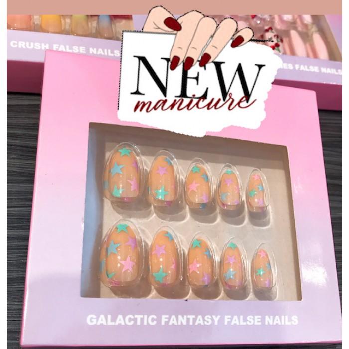 Nail Artist Collection Fake Nail Set with Glue Galactic Fantasy