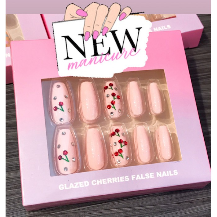 Nail Artist Collection Fake Nail Set with Glue Glazed Cherries