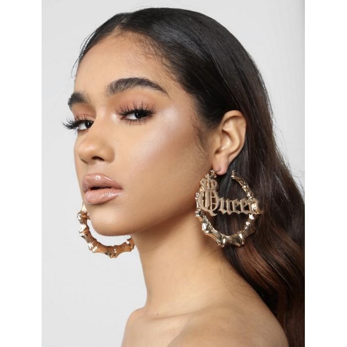 Earrings Golden Circle Ring Set
