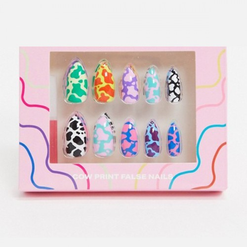 Nail Artist Collection Fake Nail Set with Glue Cow Print