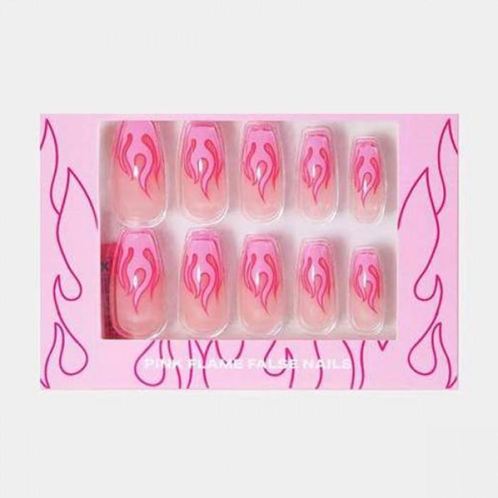 Nail Artist Collection Fake Nail Set with Glue Pink Flames