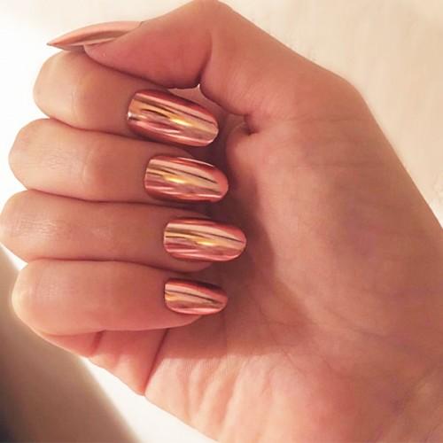Fake Nail Set with Glue Metallic Pink