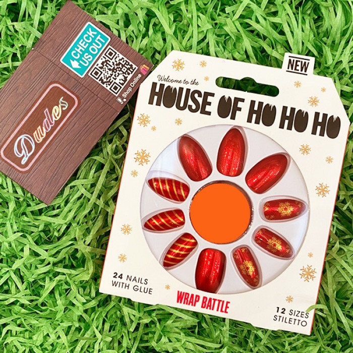 Fake Nail Set with Glue House of HO HO HO Wrap Battle