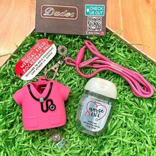 Bath & Body Works Pocketbac Medical Hand Sanitizers & Pink Holder Set