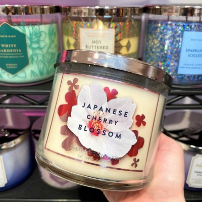 Bath Body Works 3 Wick Candle JAPANESE CHERRY BLOSSOM
