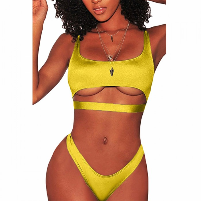 Swimwear Underboob Bikini Yellow Set