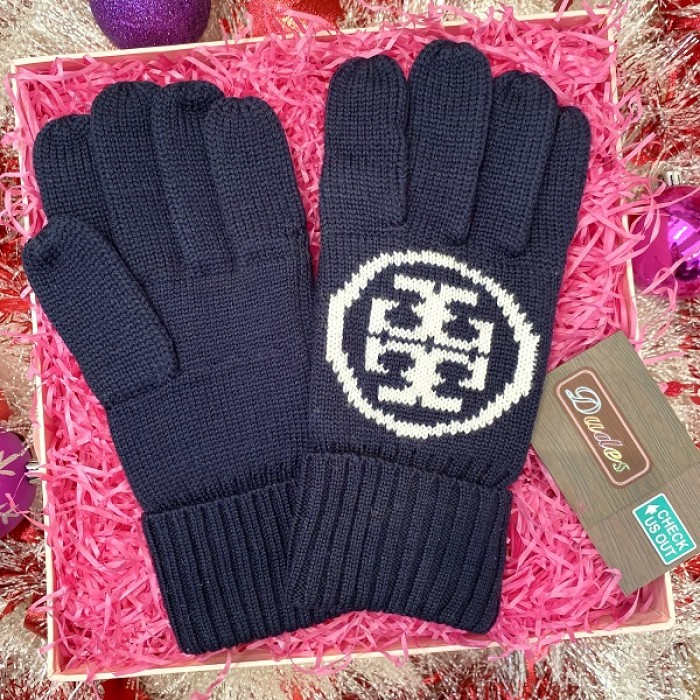 Tory Burch Women Knit Gloves Navy