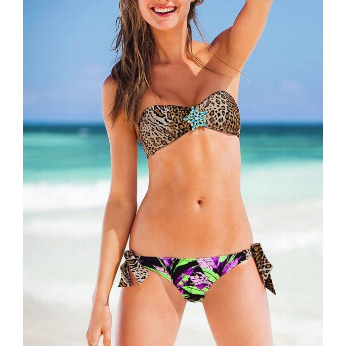 Victoria's Secret Swimwear Rainbow Leopard Top + Swim Bottom