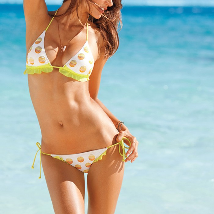 Victoria's Secret Swimwear Yellow Seqiuns Dot Set