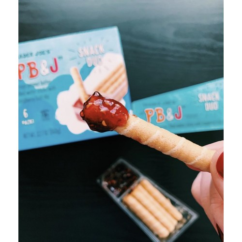 PB & J Crispy Peanut Butter Filled Wafer Sticks with Raspberry Fruit Dip by Trader Joe's