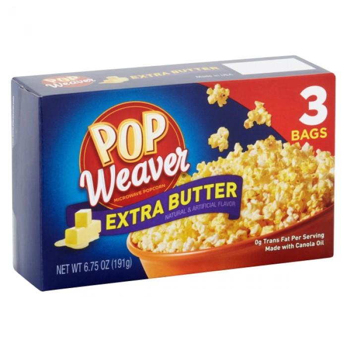 Pop Weaver Microwave Popcorn Extra Butter (3 ct)