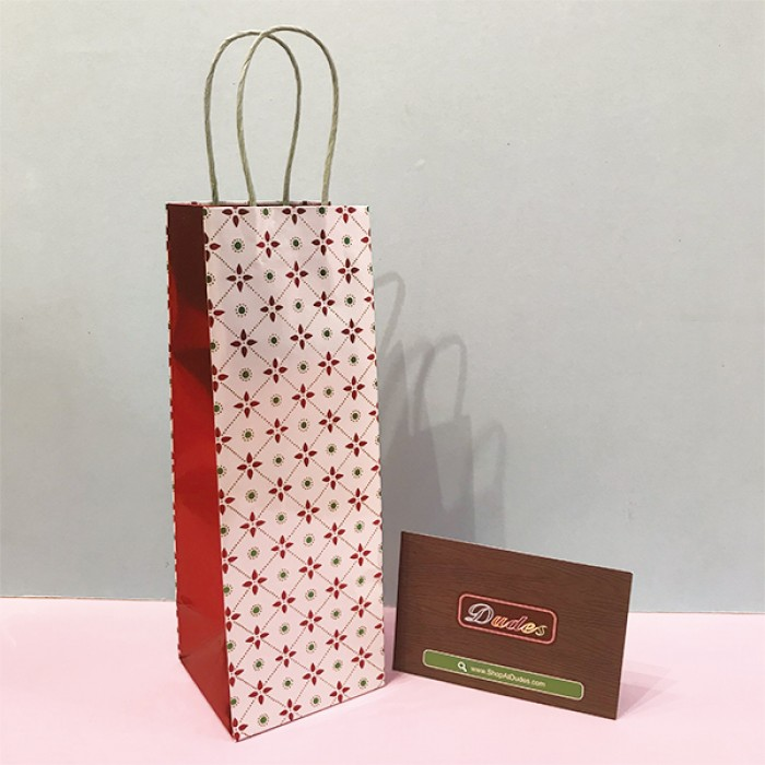 Gift Bag Wine White With Red Flower