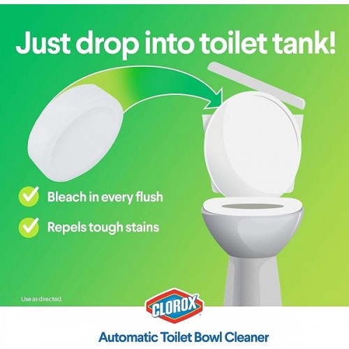 ** CLOROX Automatic Toilet Bowl Cleaner Tablets with Bleach - 4 Counts (Clean for 12 months)
