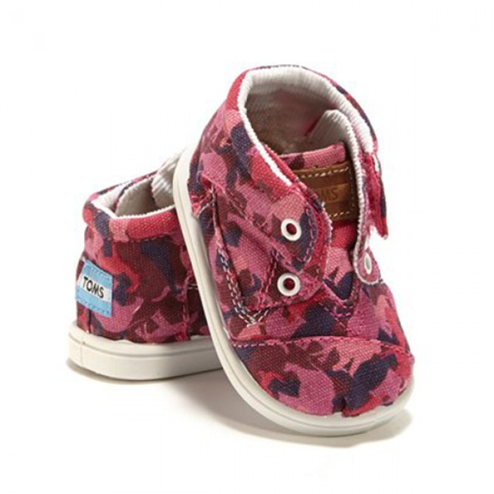 TOMS Pink Animal Camo Botas Kids Tiny Shoes