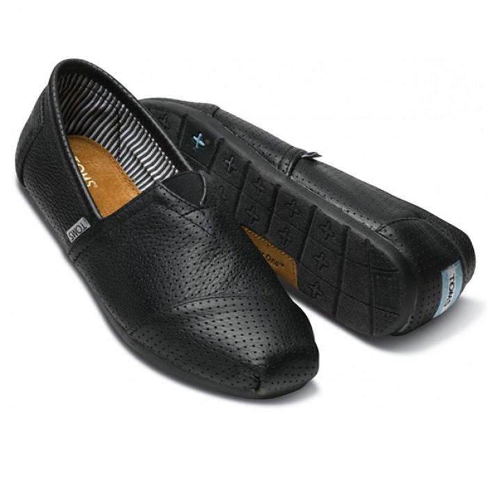 TOMS Black Perforated Leather Men Classics