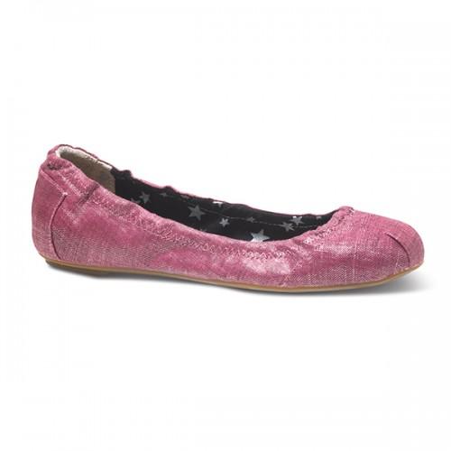 TOMS Berry Metallic Linen Ballet Flats