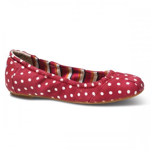 TOMS Red Polka Dot Linen Ballet Flats