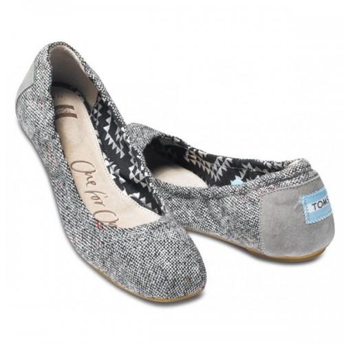 TOMS Tweed Lurex Ballet Flats