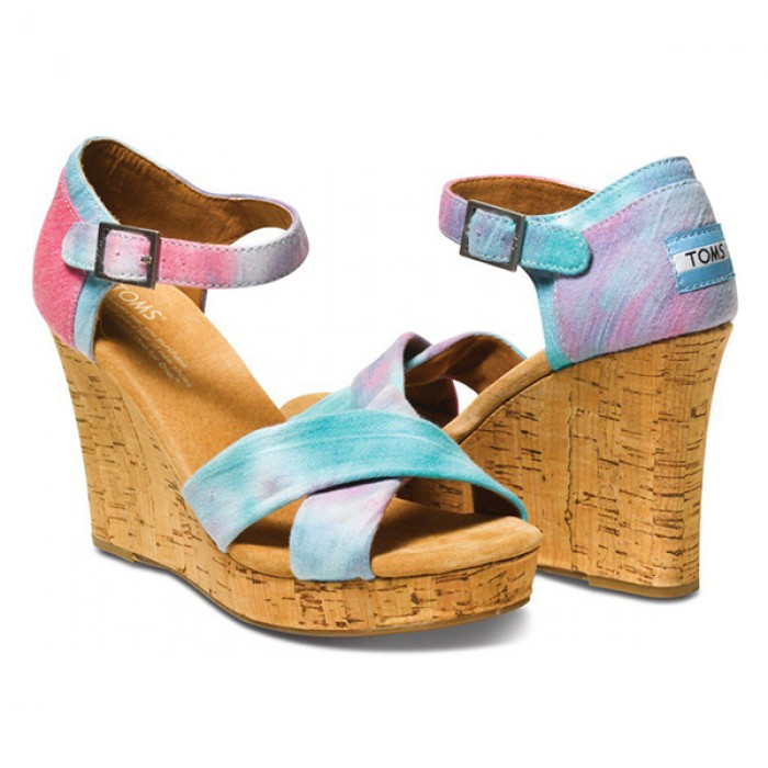 TOMS Pink & Blue Tie Dye Strappy Wedge