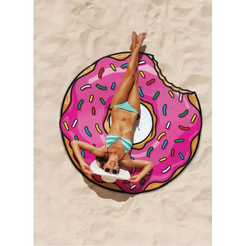 Gigantic Frosted Donut Beach Blanket